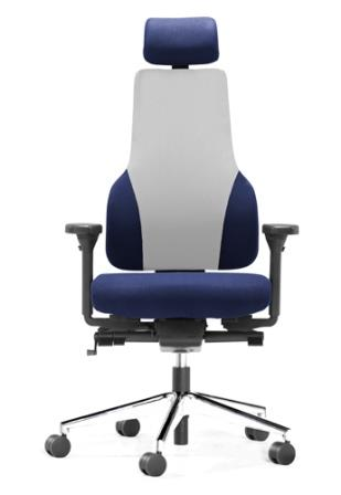 Apex Posture high back task chair with chrome base, headrest and 4 way armrests