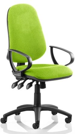 Elan XL operator chair with 3-lever mechanism contoured backrest fixed loop arms in bespoke madura fabric