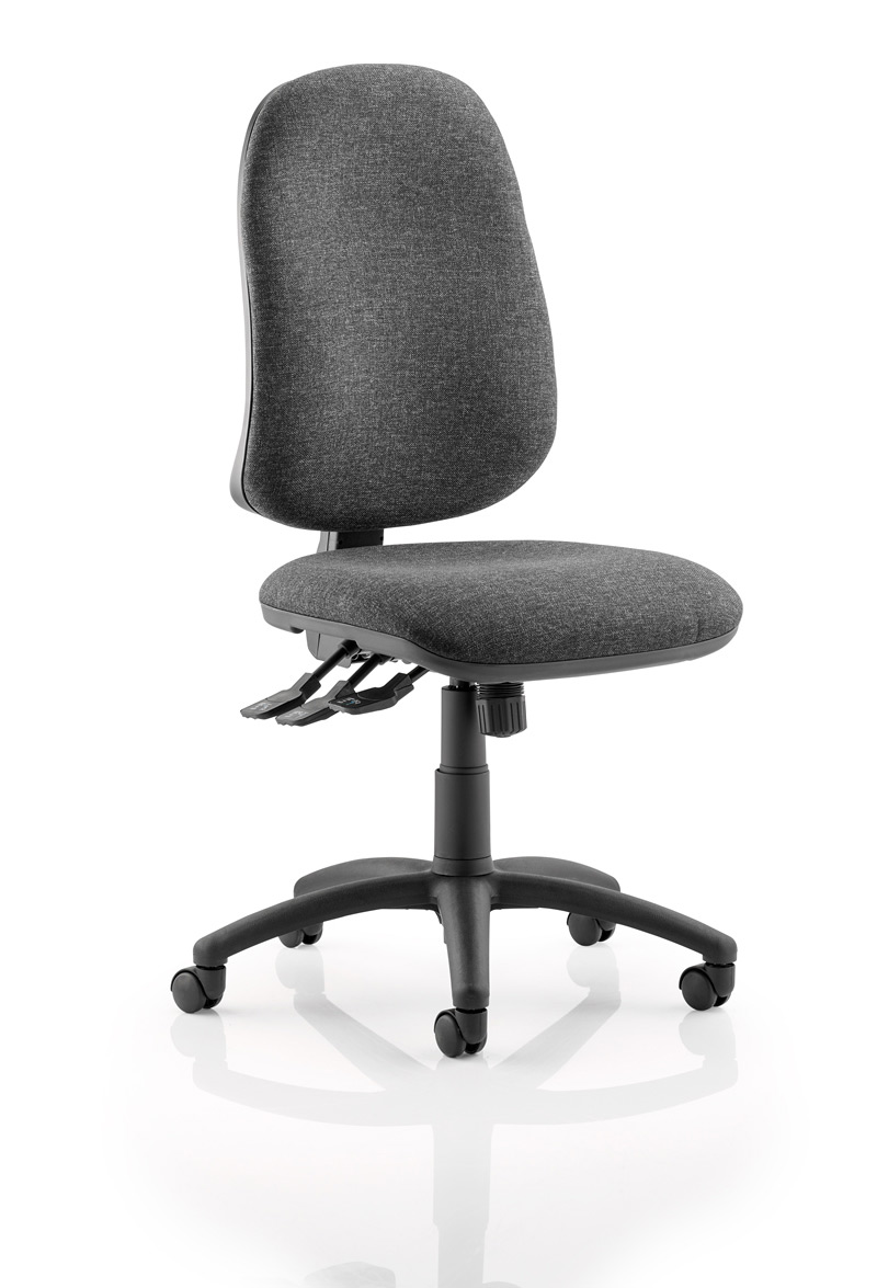 Elan XL operator chair with 3-lever mechanism contoured backrest in charcoal fabric