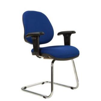 Kadeby chrome cantilever frame medium back visitor meeting chair with height adjustable arms