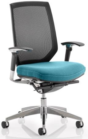 Maine task op chair with mesh back & bespoke kingfisher fabric seat