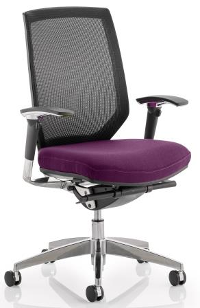 Maine task op chair with mesh back & bespoke purple fabric seat