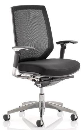 Maine task operator chair with mesh backrest, arms and black fabric seat