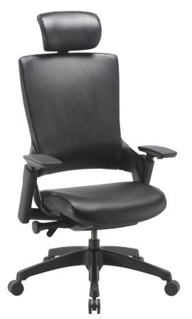 Morse managerial chair with black base & headrest in black bonded leather