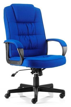 Moar managerial chair with black base and stem in blue fabric finish