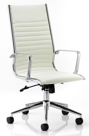 Ray high back managerial chair with chrome base and stem in ivory bonded leather finish