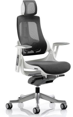 Zinc executive mesh charcoal back and seat with aluminium base, armrests and headrest
