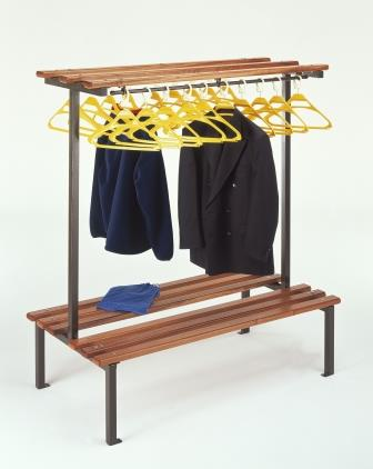 Double sided cloakroom bench with hanger rails and hangers