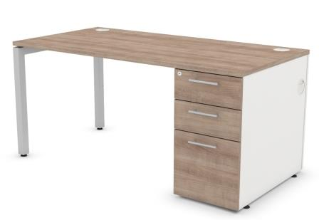 Duty rectangular desk with supporting pedestal