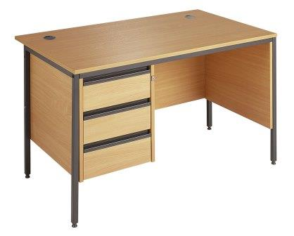 Entry level H frame rectangular straight desk with modesty, side panel and pedestal
