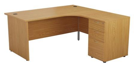 Start combination panel ended crescent desk with desk height 3-drawer pedestal