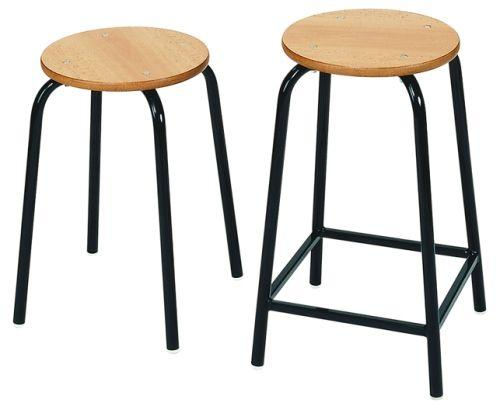 Classroom Stackable Stool With Round Mdf Seat