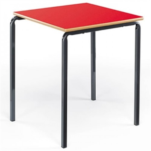 Square stacking classroom table with crush bent frame
