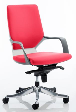 Zell executive chair with white shell in bespoke cherry red fabric finish