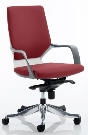 Zell executive chair with white shell in bespoke chilli fabric