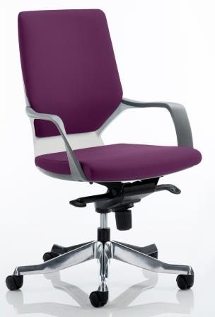 Zell executive chair with white shell in bespoke purple fabric