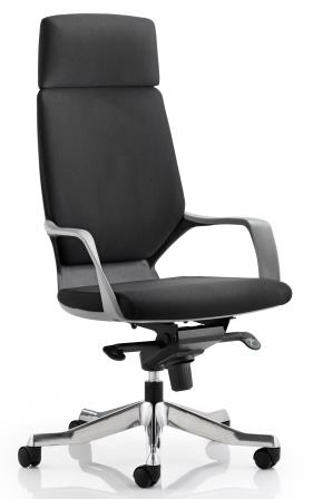 Zell highback executive chair with black shell, headrest in black fabric