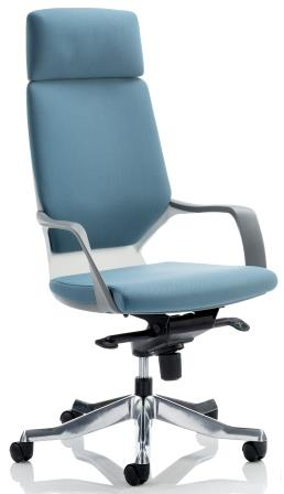 Zell highback executive chair with white shell, headrest in blue fabric