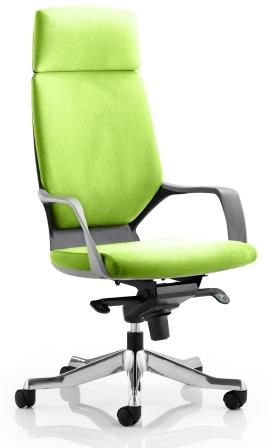 Zell highback executive chair with black shell, headrest in bespoke madura fabric