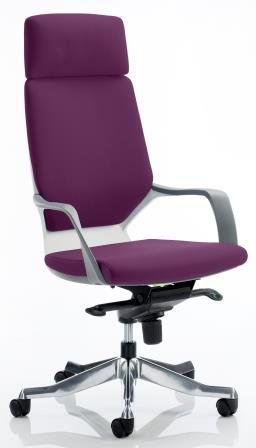 Zell highback executive chair with white shell, headrest in bespoke purple fabric