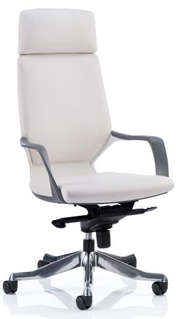 Zell highback executive chair with white shell, headrest in white bonded leather