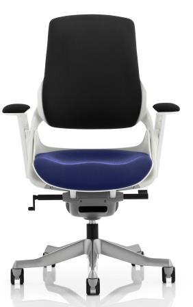 Zinc executive chair in 2 tone fabric: black backrest with bespoke serene fabric seat aluminium base and armrests