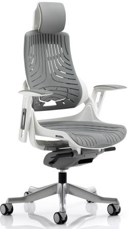 Zinc executive chair with aluminium base, matching armrests, headrest in elastomer flexible grey