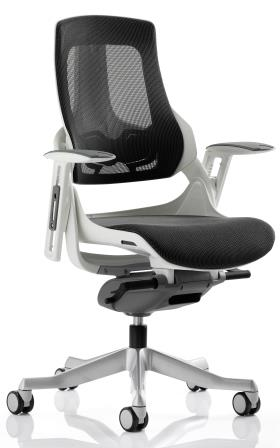 Zinc executive mesh charcoal back and seat with aluminium base and armrests