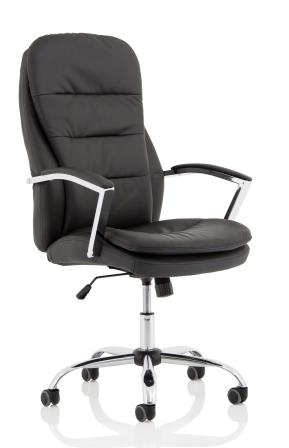 Ambridge mid back managerial chair in black bonded leather