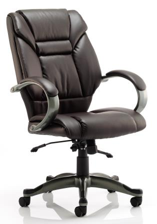 Garvi managerial chair with anthracite base in black bonded leather finish