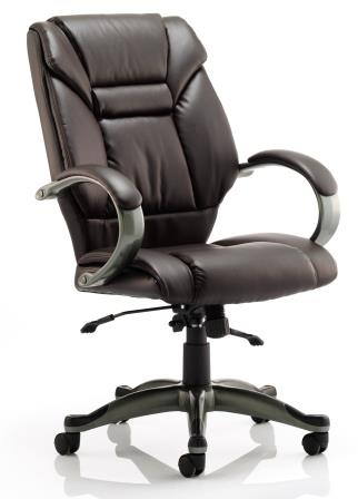 Garvi managerial chair with anthracite colour base in brown bonded leather finish