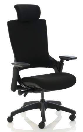 Morse managerial chair with black base, headrest fully upholstered in black fabric