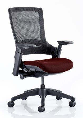 Morse managerial mesh back chair with black base and bespoke chilli fabric seat