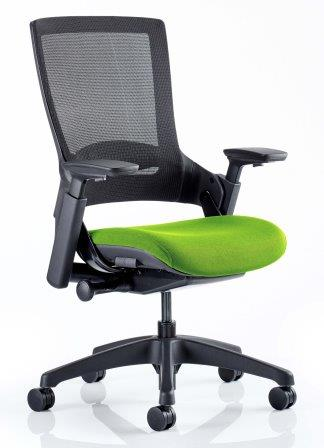 Morse managerial mesh back chair with black base and bespoke madura fabric seat