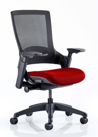 Morse managerial mesh back chair with black base and bespoke pimento fabric seat