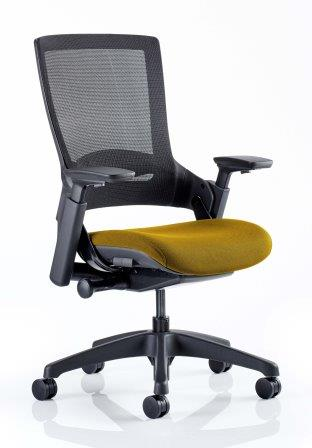 Morse managerial mesh back chair with black base and bespoke sunset fabric seat