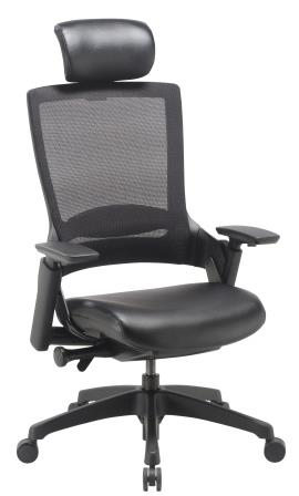 Morse managerial mesh back chair with black base, headrest and black bonded leather seat