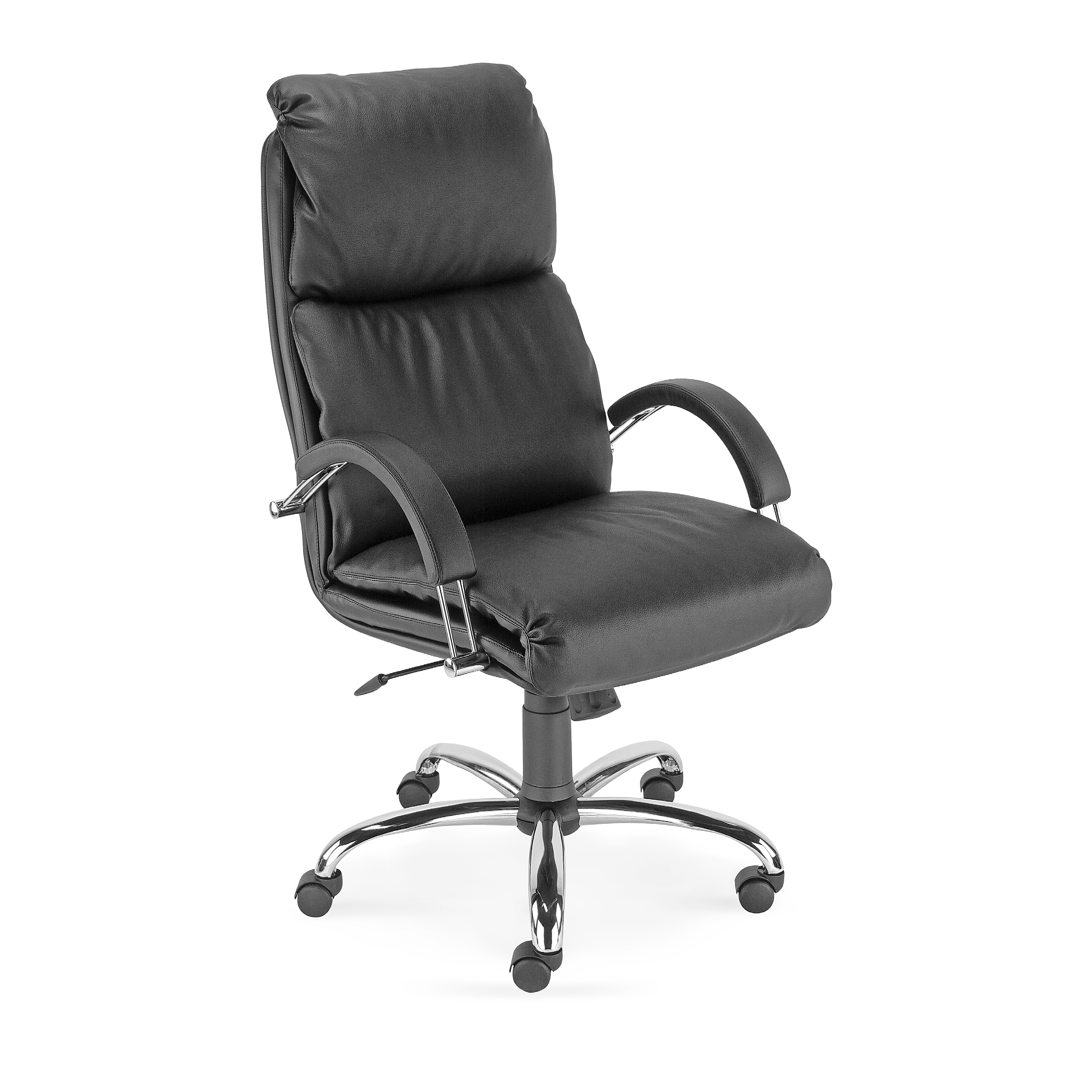 Nadir chrome base high back managerial chair (Split leather front)