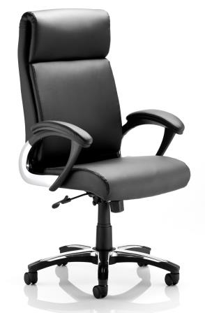 Rar managerial chair with nylon base/chrome cover, padded armrests in black bonded leather