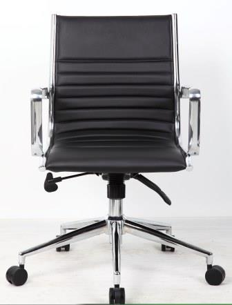 Ray mid back managerial chair with chrome base and stem in black bonded leather finish