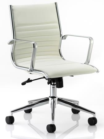 Ray mid back managerial chair with chrome base and stem in ivory bonded leather finish