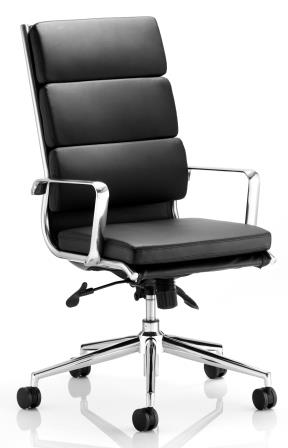 Sayer high back managerial chair with chrome base and stem in black bonded leather