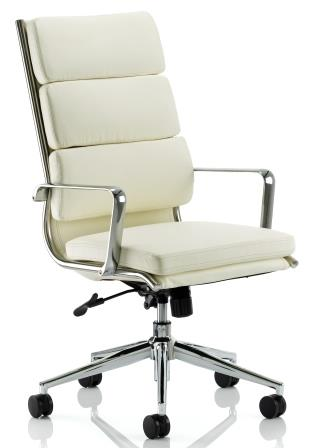 Sayer high back managerial chair with chrome base and stem in ivory bonded leather