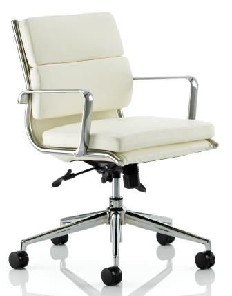 Sayer mid back managerial chair with chrome base and stem in ivory bonded leather