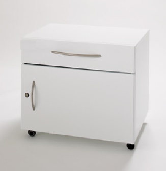 Mobile single drawer and cupboard to fit under fixed height couch