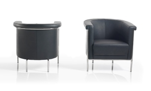 Arc leather curved reception chair