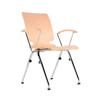 Axo 4-leg chair with plywood seat and arms