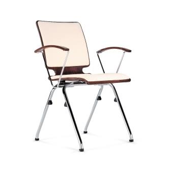 Axo 4-leg chair with upholstered seat, backrest and wood arms