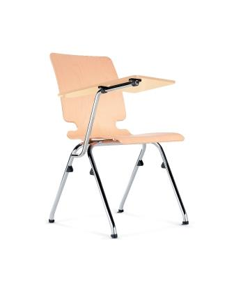 Axo 4-leg plywood seat and back with plywood writing tablet