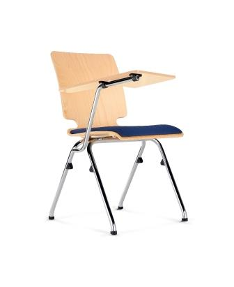 Axo 4-leg plywood upholstered seat and plywood writing tablet